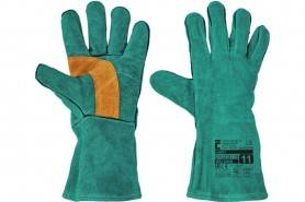 CERVA HARPY Celokožené zváračské rukavice, zelené